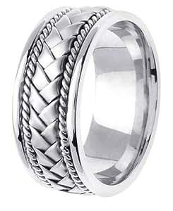 LA mariage 14KLAW133-S11 8,5 mm en or blanc 14K Handmade Wedding Band - Taille 11