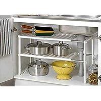 FiNeWaY New Under Sink Kitchen Rack Organiser Adjustable Removable Storage Tidy Shelf Unit