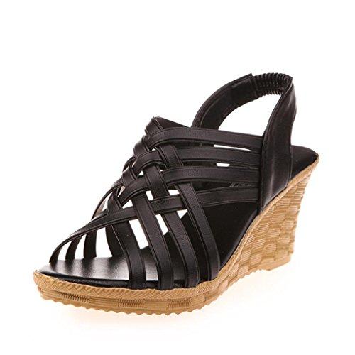Damen Wedge Flip Flop (Sandalen Damen,Binggong Frauen hohe Plattformen Ausschnitte Muster karierten Gürtel Gladiator Sandale Schuhe Hochhackige Sandalen Mode Sandalette Elegant Berufssandale Stilvoll (Schwarz, 39))