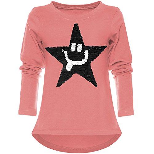 BEZLIT Mädchen Wende-Pailletten Shirt Süßem Motiv 21897 Lachs Größe 164