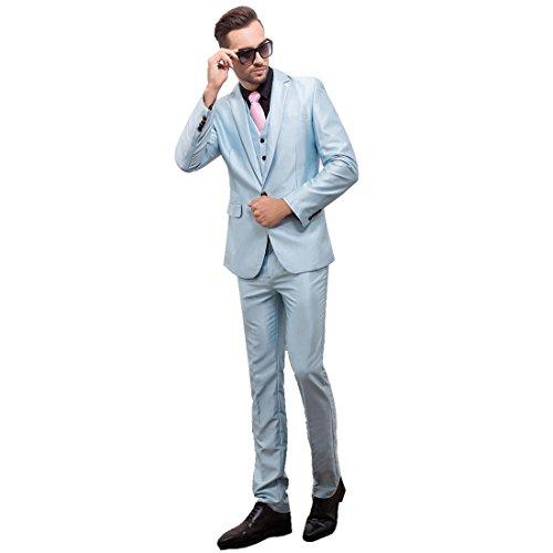 MQ Hommes Veste de Costume 3 Pièces Uniforme Suit Ronde Châle Tuxedo Dîner Mariage Prom Party Blazer+Gilet+Pantalons Bleu Ciel