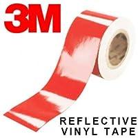 StickersLab - Pellicole adesive rifrangenti scotchlite MARCA: 3M serie 580 colore rosso (Larghezza - 25mm, Lunghezza - 1 metro)
