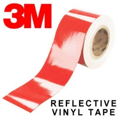 StickersLab - Pellicole adesive rifrangenti scotchlite MARCA: 3M serie 580 colore rosso (Larghezza - 50mm, Lunghezza - 1 metro)