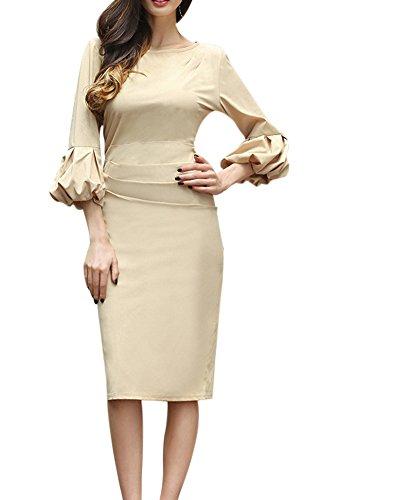 Damen Bleistiftkleid Etuikleid Lange Ärmel Knielang Retro Abendkleid Business Kleid 527 Khaki