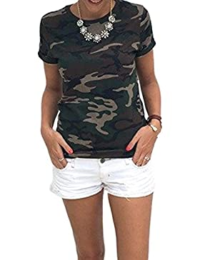 Women 's Casual Loose Camiseta Camuflaje De Manga Corta