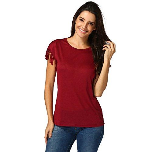 326aae241a80bb YCQUE Frauen Sexy Mode Weiche Quaste Kurzarm Retro Lose Feste Top Sommer  Lose Quaste Bluse Shirt