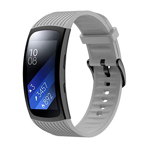WAOTIER für Samsung Gear Fit 2 Pro Armband Silikon Armband mit Streifen Muster Ersatzband für Samsung Fit Gear 2 Pro/Gear 2 Armband mit Edelstahl Verschluss Wasserdichter Sommer Armband (Grau) -