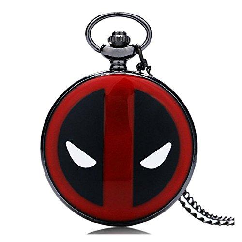 Montre de Poche à Quartz Rouge et Noire Thème Deadpool Vs Spiderman avec Chaîne de 80 cm pour Homme