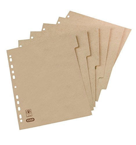 ELBA 100204978 Register Touareg aus Recycling-Kraftkarton für DIN A4 6 Blatt 6-teilig beige Karton Ringbuch Ordner Ring-mappe Ringbuch Hefter