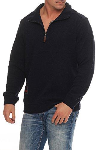 Benter Herren Pullover Sweatshirt Feinstrick Baumwollpullover mit Stehkragen Logo Patches Regular Fit 16883 Navy