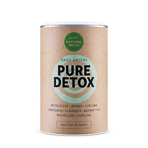 Natural Mojo Pure Detox - Superfood Pulver natürlich, vegan, glutenfrei und laktosefrei u.a. mit Artischocke, Ingwer, Curcuma, Löwenzahn, Koriander, Meerrettich, Wacholder und Spirulina