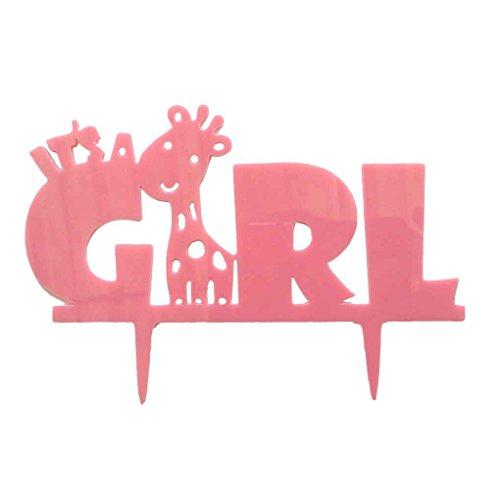 Sunlera Es ist ein Mädchen Giraffe Silhouette-Kuchen-Deckel-Kuchen-Flaggen Baby-Geburtstags-Dekorationen Dusche