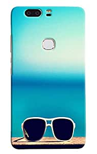 Omnam White Shades With Blue Background Printed Designer Back Cover Case For Huawei Honor V8