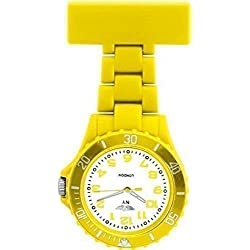 PRINCE NY LONDON YELLOW SILICONE RUBBER PLASTIC NURSE FOB WATCH NURSE BROOCH IN YELLOW COLOUR