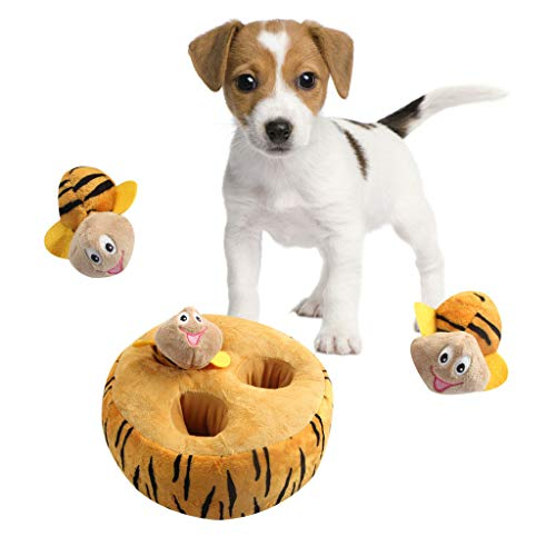 zeug Plüsch,Dauerhaft Puzzle Hundespielzeug,Hide A Bee Hundespielzeuge Interaktives Plüsch Quietschspielzeug, Bee Eichhörnchen Verstecken Interaktives Hundespielzeug,Orange ()