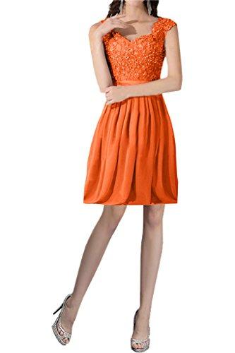 2850cde48f5518 Victory Bridal Einfach Spitze Abendkleider Lang Chiffon Ballkleider  Partykleider Brautjungfernkleider Neu Orange-Kurz