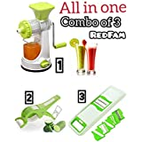 REDFAM Combo Of Stainless Steel Hand Blender And Manual Juicer Mixer Grinder With Handle, Waste Collector And Peeler Cutter (Green)