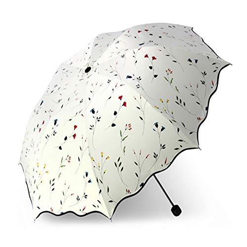 Faltbarer Regenschirm, Chic Floral Anti-UV Faltbare Regenschirme Sun Compact Damen Lady Windproof Regen Lovely Flower Candy Colorful Umbrella,Beige,1Pcs -