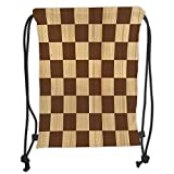 OQUYCZ Drawstring Sack Backpacks Bags,Checkered,Empty Checkerboard Wooden Seem Mosaic Texture Image Chess Game Hobby Theme,Brown Light Brown Soft Satin,5 Liter Capacity,Adjustable String Closu