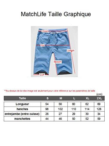 MatchLife Herren Cargo Shorts mit Gürtel Baumwolle Kurze Hosen Dunkelblau