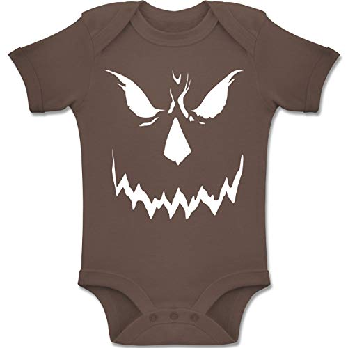 Baby - Scary Smile Halloween Kostüm - 1-3 Monate - Braun - BZ10 - Baby Body Kurzarm Jungen Mädchen ()