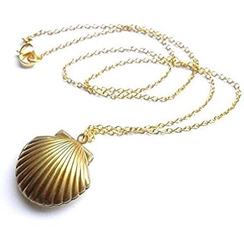 Mar Shell colgante, collar de San Valentín de sirena, Playa camafeo, Oro Tono Latón, Little carcasa camafeo, Jewelry Náutico