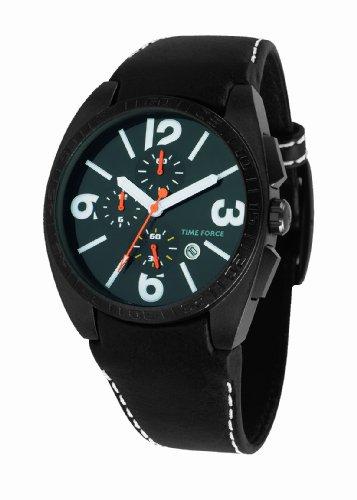 Time Force - TF2953M02 - Montre Homme - Quartz Analogique - Cadran Noir - Bracelet en Cuir Noir