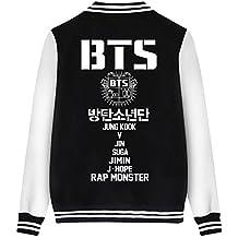ShallGood Las Mujeres Moda Nuevas Casuales BTS Fans Universitario Chaqueta Sudadera Baseball Abrigos Jacket Outerwear Tops