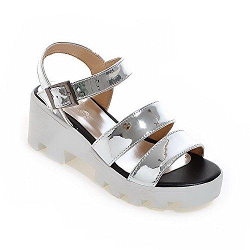 VogueZone009 Donna Punta Aperta Tacco Medio Pelle Di Maiale Luccichio Heeled-Sandals Argento