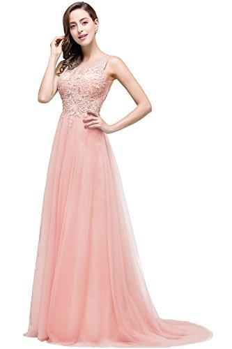 Altrosa Damen Sommer V-Ausschnitt Spitzen Ballkleid Cocktailkleid Langes Abendkleid 34