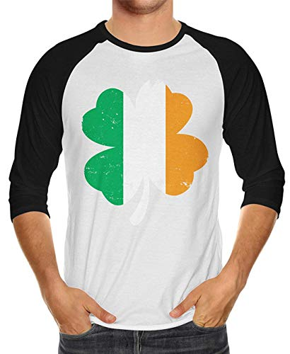 Distressed Irish Flag Clover Unisex 3/4 Raglan Shirt -
