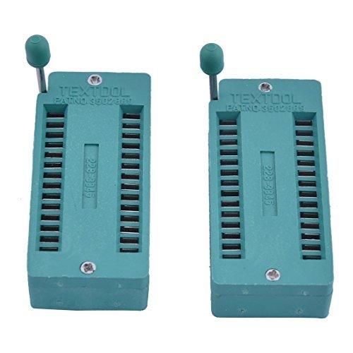 DealMux DC 5V 28P DIP ZIF IC Test Board Locking Sockel Chip Basis 50x25mm 2ST Grün Chip-basis