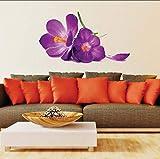 Moda Romántica Púrpura Flores Pegatinas De Pared Para Sala De Estar Dormitorio Diy 3D Etiqueta De La Pared Decoración Para El Hogar 60X90 Cm