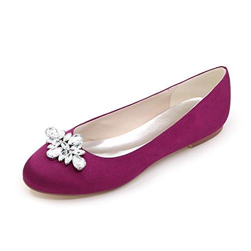 L@YC Frauen Hochzeitsschuhe 9872-12 runde Zehe Wohnungen Hochzeit / Party & abend Brautschuhe mehr Farben zur Verfügung , purple , 42