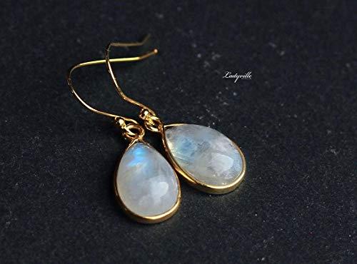 Mondstein Ohrringe Vergoldetes Silber/Himmlische Ohrringe/Edelstein Schmuck/Geschenk für Sie/Origineller Schmuck/Geburtsstein