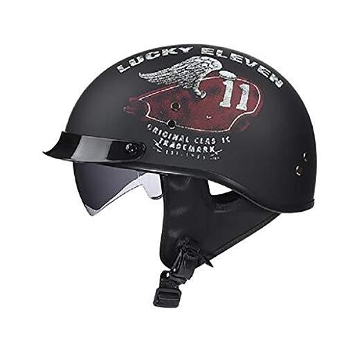 YLee Harley Halbhelm Erwachsenen Motorboot Cruiser Roller Männer und Frauen Helm DOT Zertifizierung mit Sonnenschirm Brille 4/3 Scooter Helm,B,M 1-kanal-visier