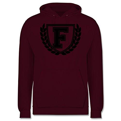 Anfangsbuchstaben - F Collegestyle - Männer Premium Kapuzenpullover / Hoodie Burgundrot