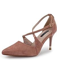 Mujer Tacón Zapatos De es Para Terciopelo Amazon Rxq6Ofz6