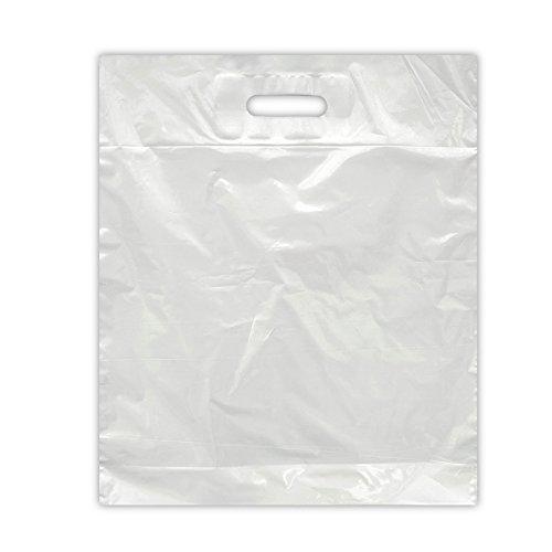 250x Plastiktasche 45x55+2x5 weiss LDPE 43my Stark | DKT Griffloch | Folienbeutel geklebtes Verstärkungsblatt | Plastiktüten 45x55+2x5 cm | HUTNER
