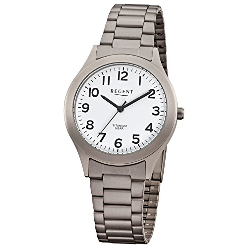 Regent montre bracelet femme élégant analogique Titane (Métal)–Bracelet gris argent à quartz cadran blanc urf837