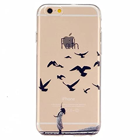MUTOUREN iPhone 6 Plus/6S Plus case cover Clear Gel TPU Back Bumper Soft Environmental Cases Virtually Premium Cell Phone Shell High-grade Transparent Silicone Protector Mobile Phone Cover Case [Scratch Resistant] Case Protector Crystal Clear - Girl Birds and Faith mountain