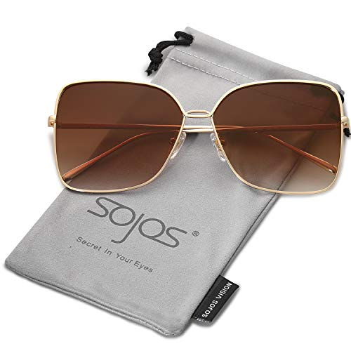 SOJOS Damen Sonnenbrille Neue Modell Metall Flach Linsen Groß SJ1082 mit Gold Rahmen/Verlauf Braun Linse