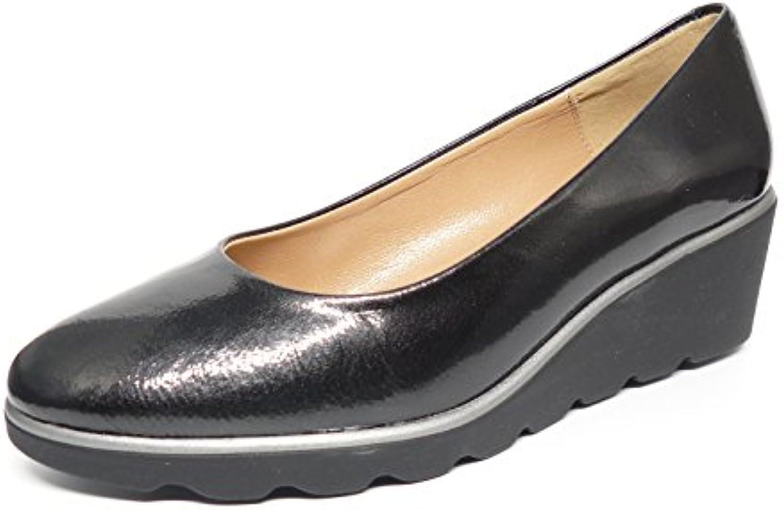 Zapatos manoletina mujer con cuña en piel metalizada charol color gris de la marca CALMODA MARIA JAEN 3623 -12