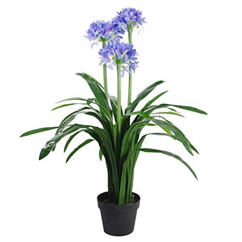 Leaf Foglia Artificiale di agapanto con Vaso, 90 cm, Colore: Blu