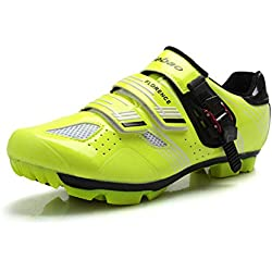 Tiebao - Zapatillas de Ciclismo de Sintético para Mujer, Color Verde, Talla 41