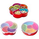BoodTag Boîte Alimentaire en Plastique avec Couvercle Boîte Rangement Distributeur Snacks avec Compartiments Amovibles Accessoire Cuisine (Forme fleur avec compartements forme éventail)