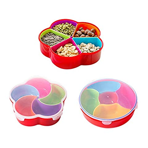 BoodTag Plastic Food Storage Container with Lid Snacks Boxes Dispenser with Removable Compartments Kitchen Accessory (Round shape)