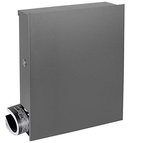 MOCAVI Box 111R Design-Briefkasten mit Zeitungsfach grau-aluminium (RAL 9007) Wandbriefkasten, Schloss links, groß, Aufputzbriefkasten dunkelgrau, Postkasten graualuminium modern mit Zeitungsrolle
