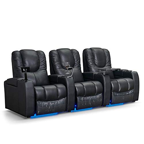 Zinea Kinosessel Fantasy - 3 Sitzer - Echtleder, elektrisch verstellbar, LED Becherhalter, Ambientebeleuchtung, Kinosofa, Kinositz - Sofort Lieferbar