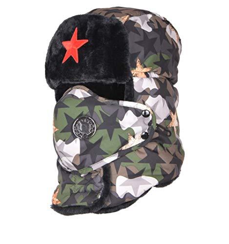 AFASSW Nach Camouflage Bomber Hüte Männlich Red Star Armee Lei Feng Hat Winter Warm Gehörschutz Cap Herren Wind Maske Cap B-1